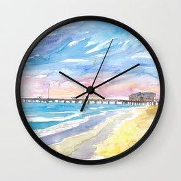 Outer Banks Pier At Nags Head At Sunset Wall Clock