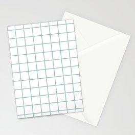 Minimalist Window Pane Grid, Sea Foam on White Stationery Cards