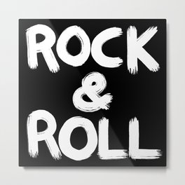 Rock and Roll Brushstroke Black and White Metal Print