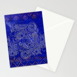 N20 - Tribal Cute Cat Hand Drawing, Traditonal Moroccan Carpet Background Stationery Cards