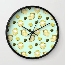 key lime pie pattern // pie lover Wall Clock