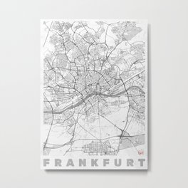 Frankfurt Map Line Metal Print