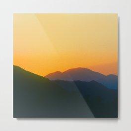 Mountain Sunset In Yellow And Tangerine Metal Print