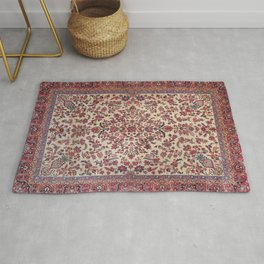 Persian Old Century Authentic Colorful Red Pink Light Blue Purple Vintage Patterns Rug