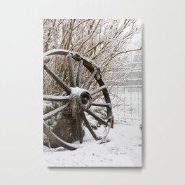 Iced In Rustic Winter Scene Wagon Wheel in Ice Metal Print
