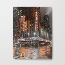 Radio City Music Hall at night Metal Print
