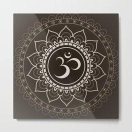 Espresso Brown Om Mandala Metal Print