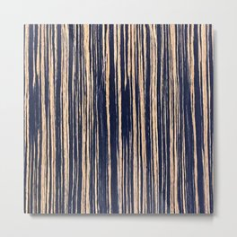 Vertical Scratches on Dark Blue Metal Texture Metal Print