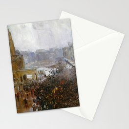 Arthur Streeton - Fireman's Funeral, George Street - Digital Remastered Edition Stationery Cards