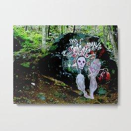 The alien Ghost of Graffiti Rock Metal Print