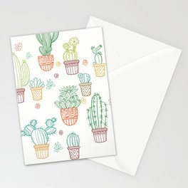 cheerful white cacti Stationery Cards