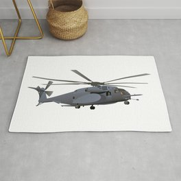 Military MH-53 Helicopter Rug