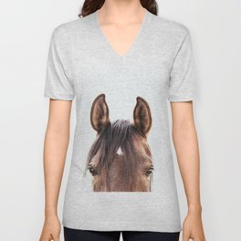 peekaboo horse, bw horse print, horse photo, equestrian, equestrian photo, equestrian decor Unisex V-Neck