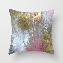 Golden Girl: a pretty abstract mixed media piece in pink, white, gold, and gray Throw Pillow