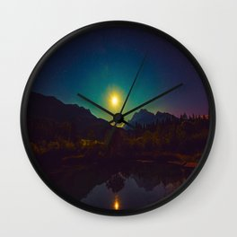 Colorful Night Sky Blue Green Purple With Mountains Wall Clock