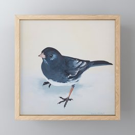 Dark-Eyed Junco bird painting Framed Mini Art Print
