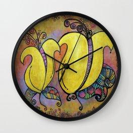 Yellow Two Lips Wall Clock