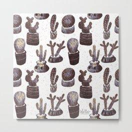 Cactus Pot Pattern Monochrome palette Metal Print