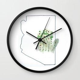 arizona // watercolor saguaro flower state flower map Wall Clock