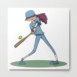 Gir hitting softball with racket Metal Print