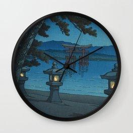 Hasui Kawase, Moonlight Over Miyajima - Vintage Japanese Woodblock Print Art Wall Clock