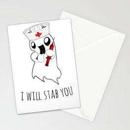 Halloween Costume I Will Stab You Nurse Gift Stationery Cards