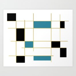 MidCentury Modern Art Aqua Gold Black Art Print