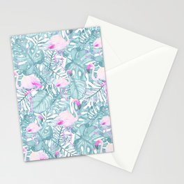 Neon pink green watercolor flamingo tropical leaves Stationery Cards