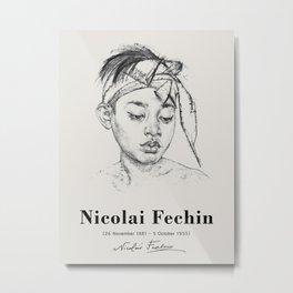 Vintage poster-Nicolai Fechin-pencil sketches-boy. Metal Print