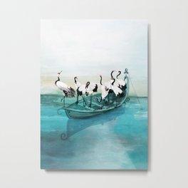 White Cranes Metal Print