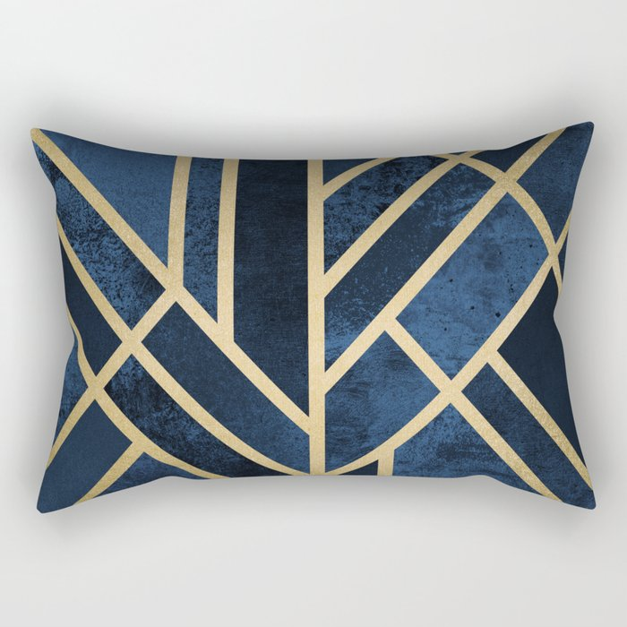 Art Deco Midnight Rechteckiges Kissen
