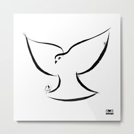 Dove Bird Minimalist Ink Line Brush Art - Creation Series Metal Print