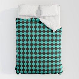 Black and Turquoise Diamonds Comforters