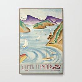 Summer in Norway Vintage Travel Poster Metal Print
