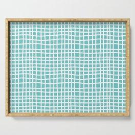 aqua ocean thread random cross hatch lines checker pattern Serving Tray