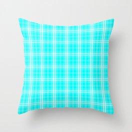 Neon Aqua Blue and White Tartan Plaid Check Throw Pillow