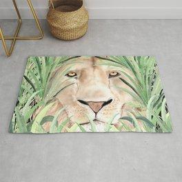 Lion staring through savanna grass, watercolor art.  Rug