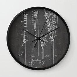 Lacrosse Stick Patent - Lacrosse Player Art - Black Chalkboard Wall Clock