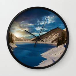 Swiss Alpine Winter Sunset Wall Clock