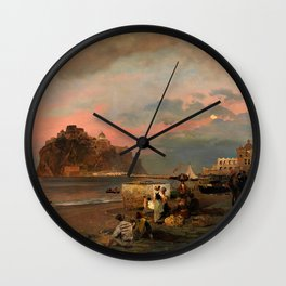View of Ischia and Maronti Beach with Aragonese Castle by Oswald Achenbach Italian Landscape Wall Clock