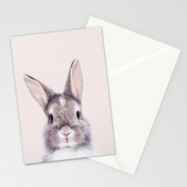Baby Rabbit, Bunny With Pink Background, Baby Animals Art Print By Synplus Stationery Cards