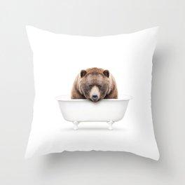 Brown Bear in a Vintage Bathtub (c) Throw Pillow