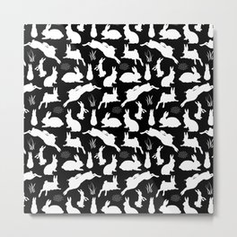 Rabbit Pattern | Rabbit Silhouettes | Bunny Rabbits | Bunnies | Hares | Black and White | Metal Print