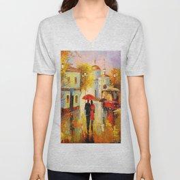 Rain in the city of love Unisex V-Neck