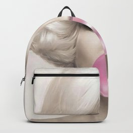 Contemporary Print - Big Pink Bubble Gum Bubble Being Blown by Mari-lyn Monroe (Colour Picture Poster Art Artwork Modern) Backpack