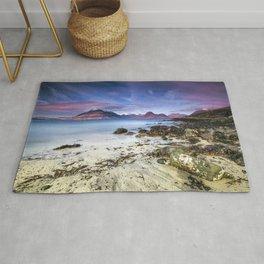 Beach Scene - Mountains, Water, Waves, Rocks - Isle of Skye, UK Rug
