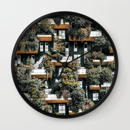 Bosco Verticale, Vertical Forest, Milan Residential Towers, Modern Building, Trees, Shrubs, Floral Plants Wall Clock