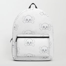 Light Grey Skull and Crossbones Pattern and Print Backpack