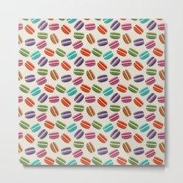Cute Macarons Pattern with Polka Dots Metal Print