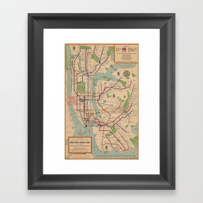 New York City Metro Subway System Map 1954 Gerahmter Kunstdruck